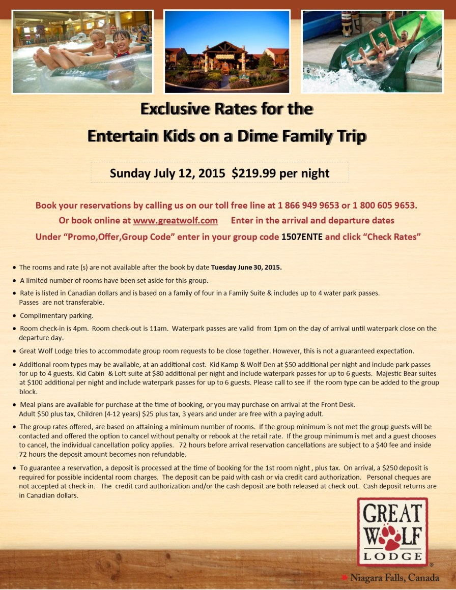 Entertain Kids on a Dime - Sunday July 12, 2015 - Great Wolf Lodge Booking Flyer