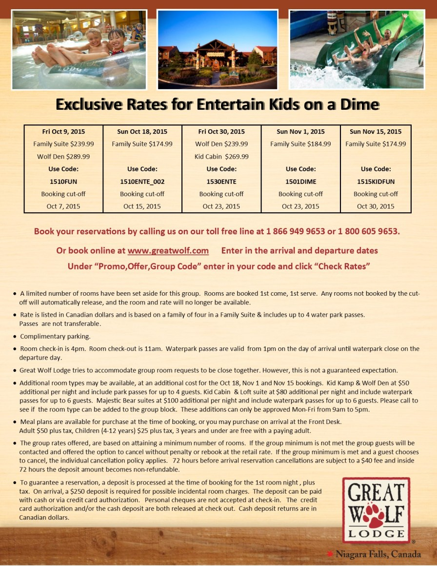 Entertain Kids on a Dime - group booking info at Great Wolf Lodge - Oct 9, Oct 18, Oct 30, Nov 1, Nov 15