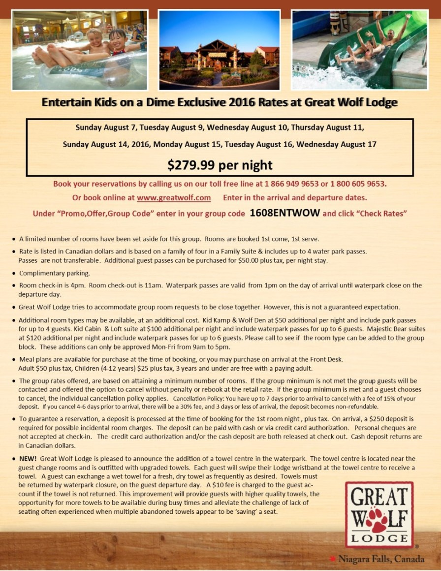 thumbnail_Entertain Kids on a Dime - Booking Information for August 7%2c 9%2c 10%2c 11%2c 14%2c 15%2c 16%2c 17%2c 2016 at Great Wolf Lodge