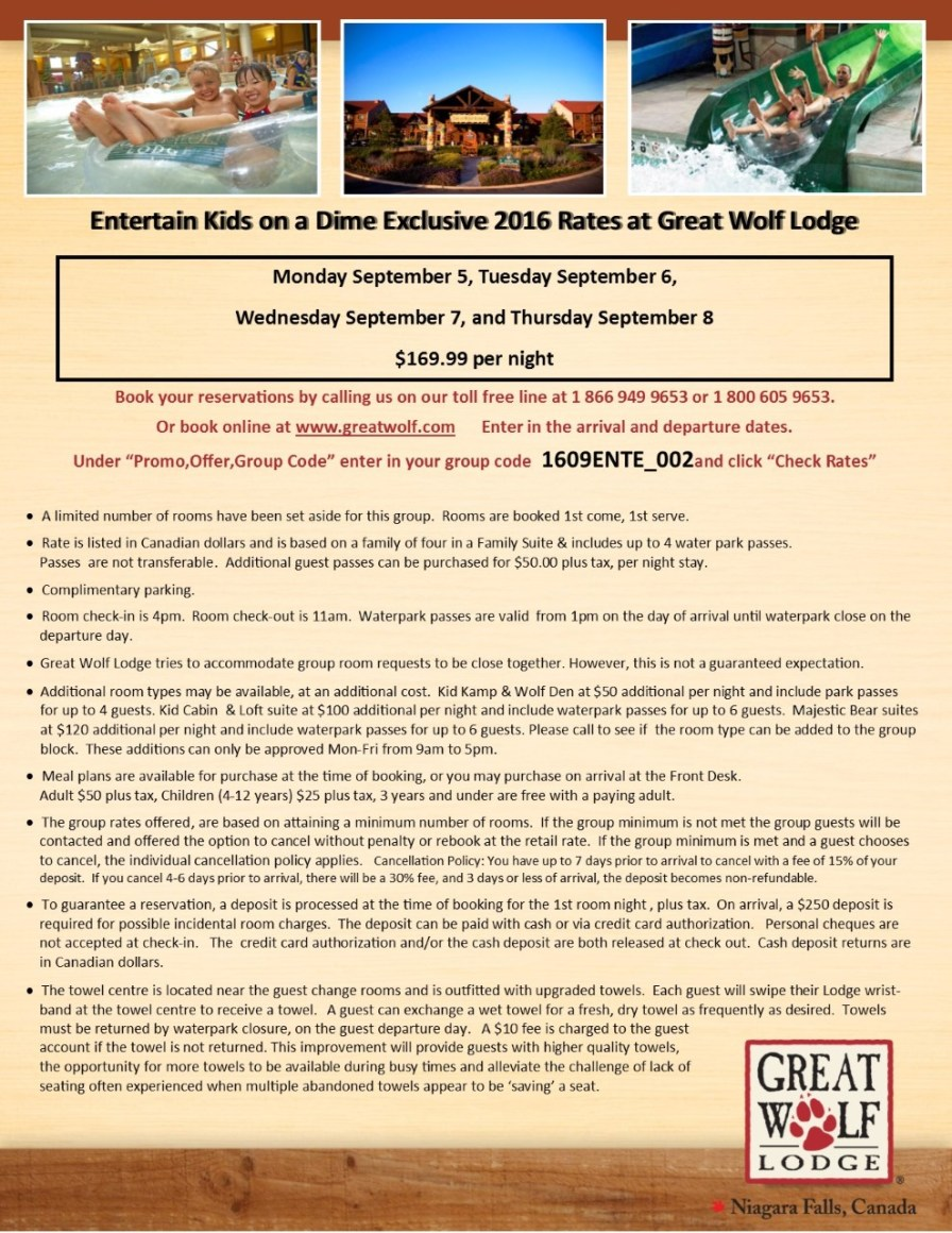 thumbnail_Entertain Kids on a Dime - Booking Information for September 5%2c 6%2c 7%2c 8%2c 2017 at Great Wolf Lodge