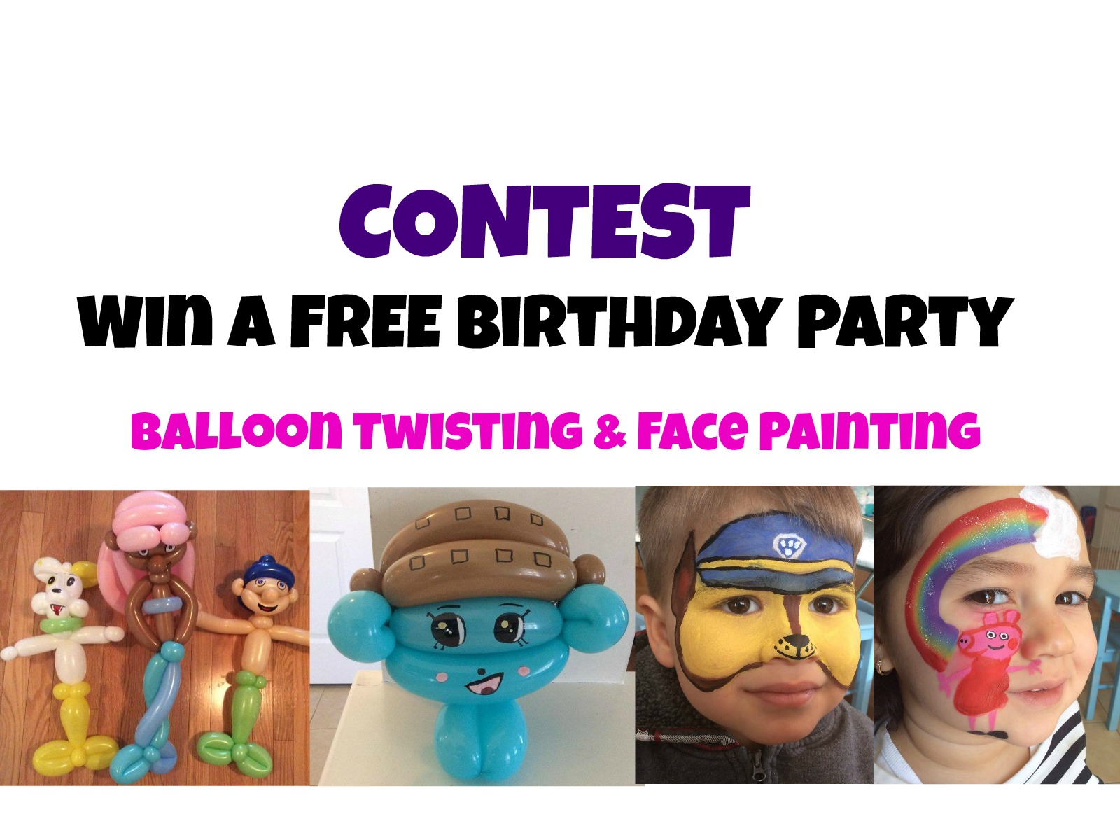 Contest: Win A Free Face Painting & Balloon Twisting Party