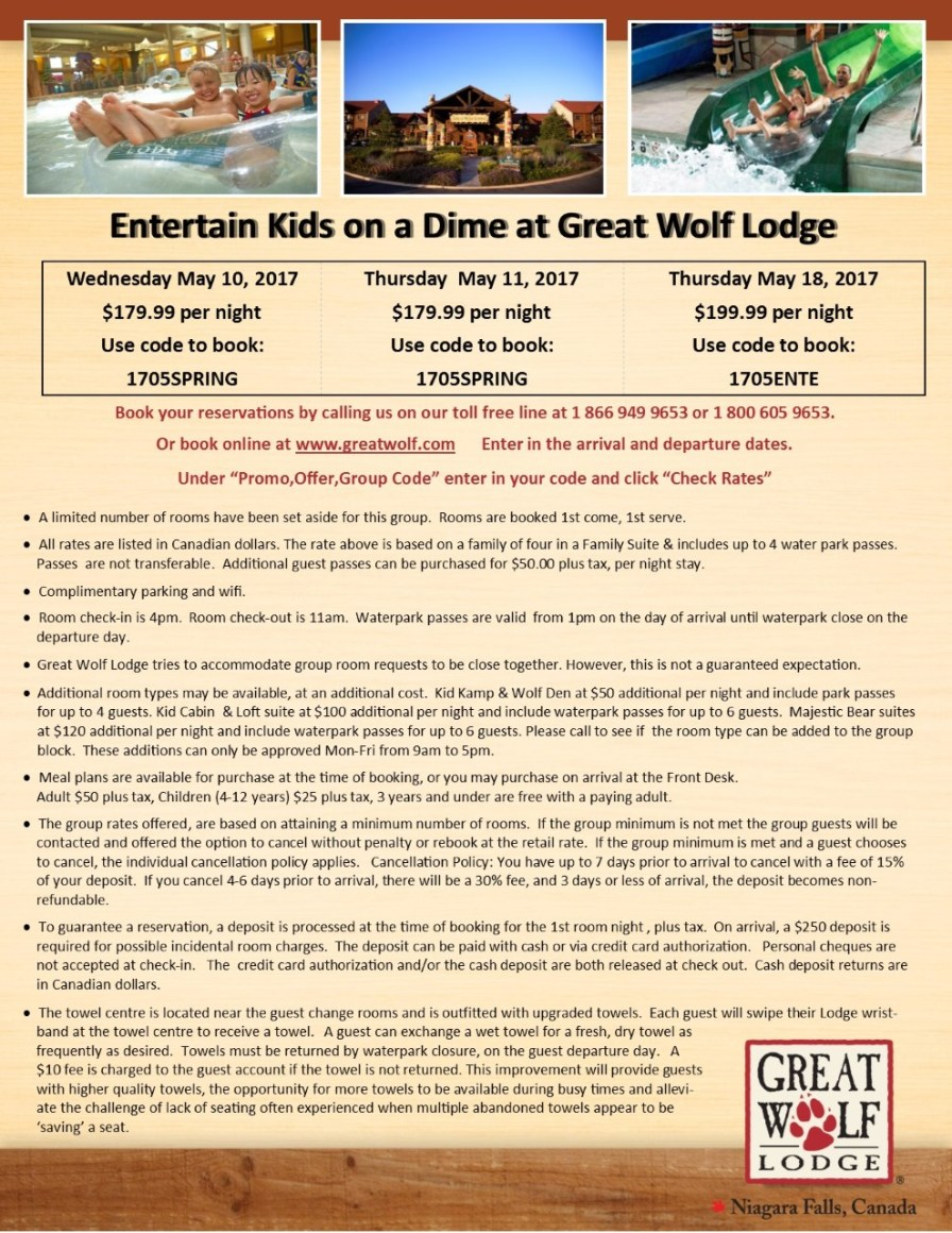 thumbnail_Entertain Kids on a Dime - May 10 11 & 18 2017 booking flyer for Great Wolf Lodge (1)