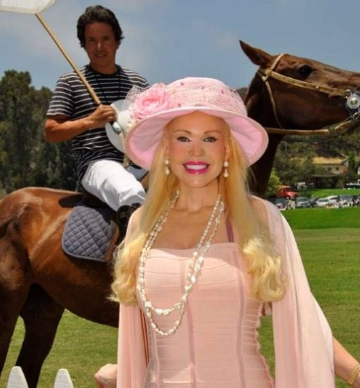 Actress Brenda Dickson with Polo Player, Santiago, in background on his horse, India