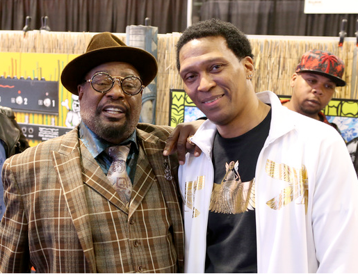 Musicians George Clinton and Keith Shocklee at NAMM at the Anaheim Convention Center on January 21, 2015 in Anaheim, California. (Photo by Jesse Grant/Getty Images for NAMM)