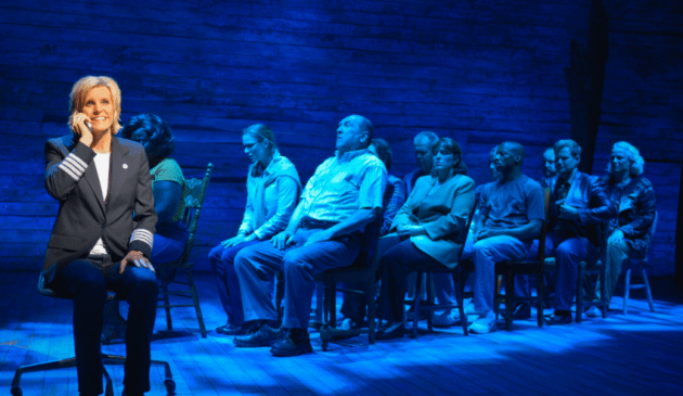 Jenn Colella (left) and the cast of La Jolla Playhouse's world-premiere musical COME FROM AWAY; photo by Kevin Berne.