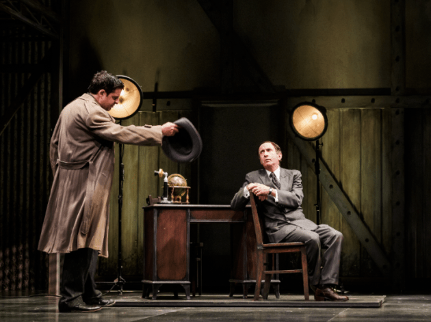 """Jeff Marlow as """"D.A. Woolwine"""" and Patrick Kerr as """"Will Hays"""" - photo by Jim Carmody."""