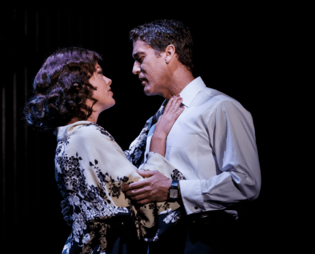 """Kate Rockwell as """"Mabel Normand"""" and Scott Drummond as """"William Desmond Taylor"""" - photo by Jim Carmody."""
