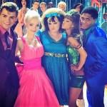 Hairspray Live! cast (from left) Shahadi Wright Joseph, Garrett Clayton, Dove Cameron, Maddie Baillio, Ariana Grande, Ephraim Sykes, Derek Hough (photo courtesy NBC0