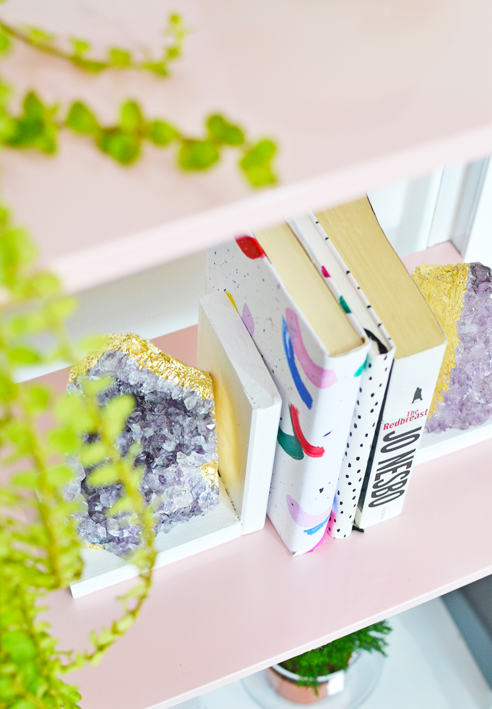 DIY Crystal Amethyst Bookends