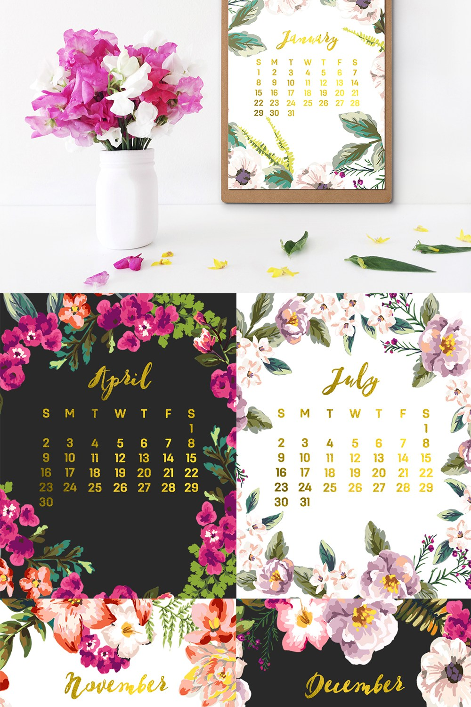 Free Floral 2017 Calendar Printables
