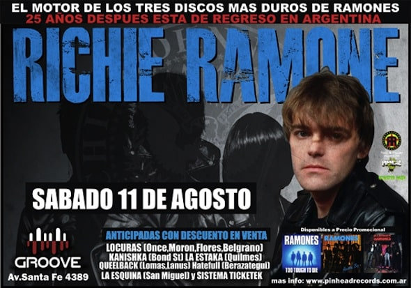 Entradas para Richie Ramone en Argentina 2012: Groove