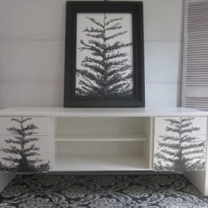 China White Media Credenza With Pine Trees