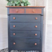 Navy Blue Dresser with Rustic, Stained Top