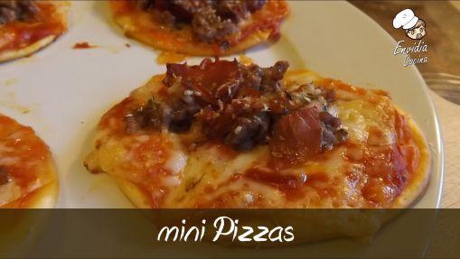 Mini Pizzas de jamón y chorizo