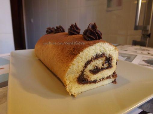 Brazo gitano relleno de chocolate, bizcocho básico, bizcocho tiramisú