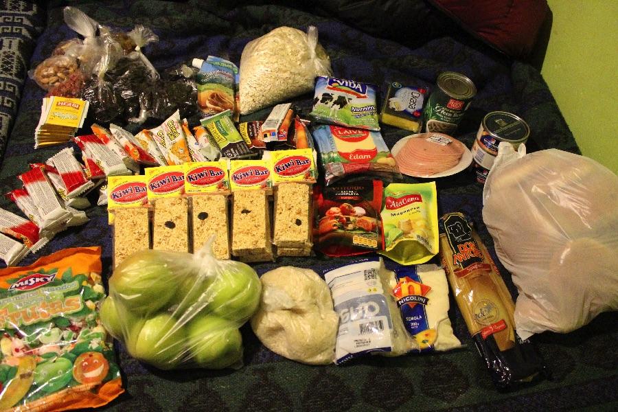 La nourriture emportée pour le trek
