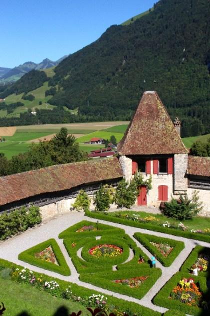 Le jardin du château de Gruyères