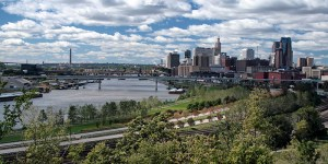 Cityscape view of downtown St.Paul in the spring