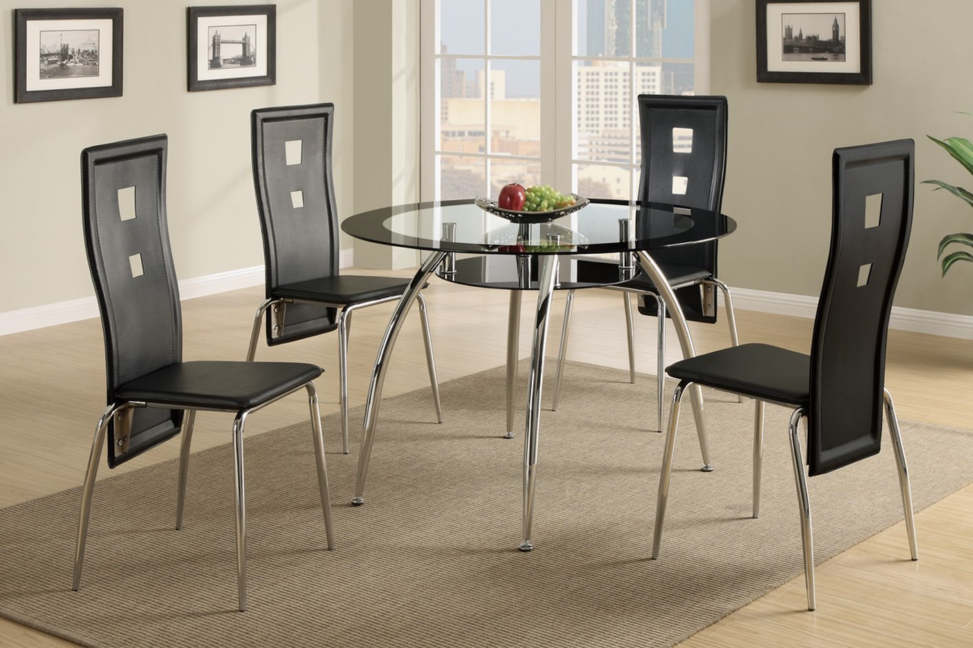 poundex f glass kitchen table Black Glass Dining Table