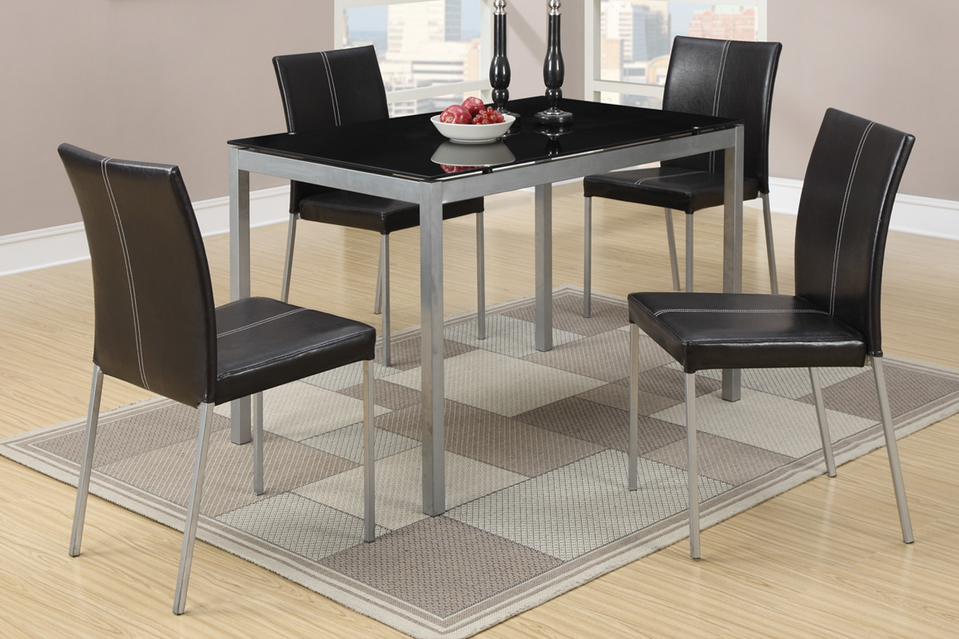 poundex f metal kitchen chairs Silver Metal Dining Table and Chair Set