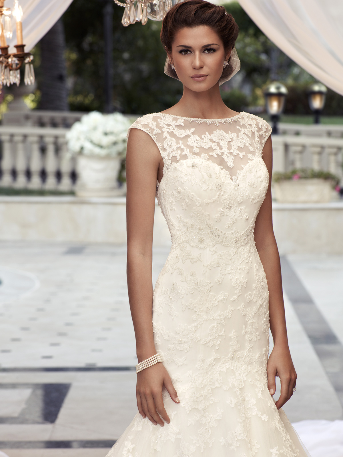lace wedding dress with cap sleeves style d wedding dress cap sleeves Cap Sleeve Fit And Flare Casablanca Bridal Gown