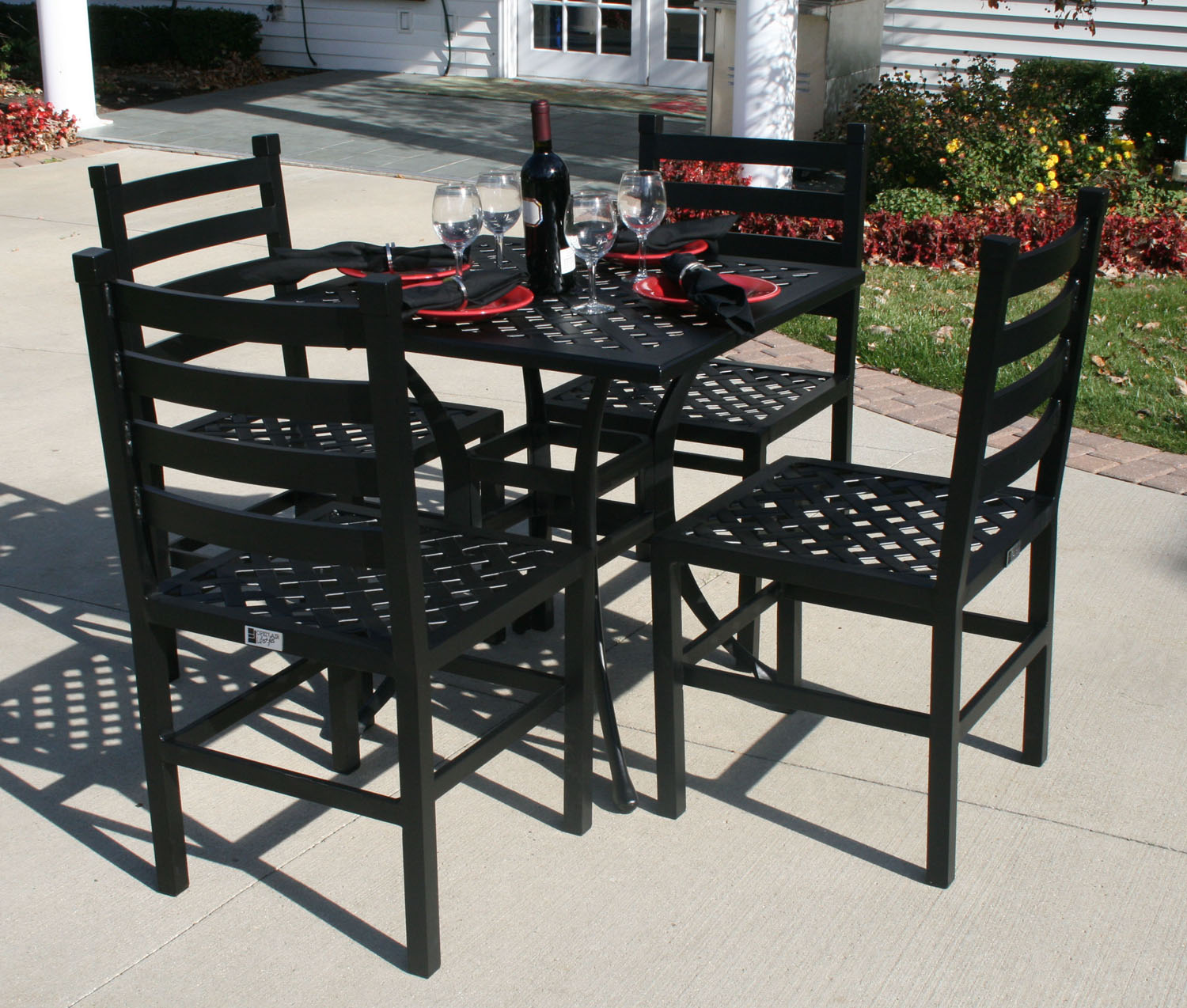 the ansley collection 4 person all welded cast aluminum patio furniture dining set with 30 square table 7