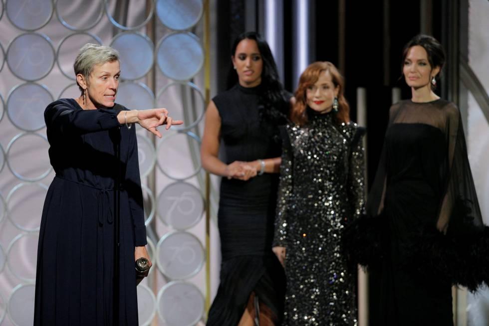 Frances McDormand, ganadora del premio a mejor actriz de drama por 'Tres anuncios a las afueras'.