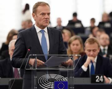 El presidente del Consejo Europeo, Donald Tusk, habla durante la última cumbre europea.