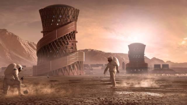 Ilustración de una colonia humana en el espacio creada con impresión 3D. Este imagen pertenece a la propuesta de Team SEArch Apis Cor, ganadora del concurso convocado por la NASA.