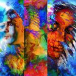 49182325 - beautiful collage painting of an indian man and young woman with feather headdress, and abstract color background.