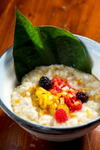 Rice Pudding with ginger and fruit