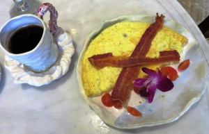 3-egg omelet with applewood bacon.
