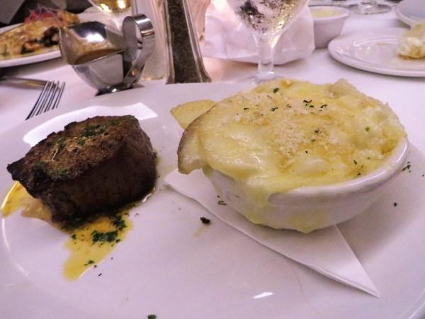 6 oz. filet with au gratin potatoes.