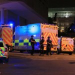 Armed police at Manchester Arena after reports of an explosion at the venue during an Ariana Grande gig. PRESS ASSOCIATION Photo. Picture date: Monday May 22, 2017. See PA story POLICE Explosion. Photo credit should read: Peter Byrne/PA Wire