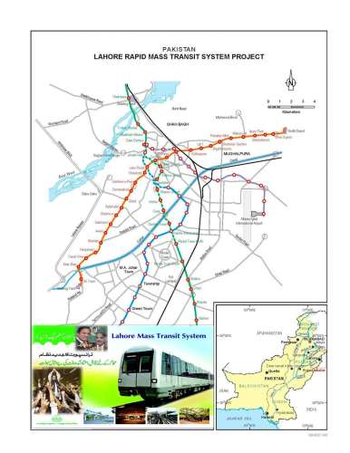 Lahore Rapid Mass Transit Rail Route Map