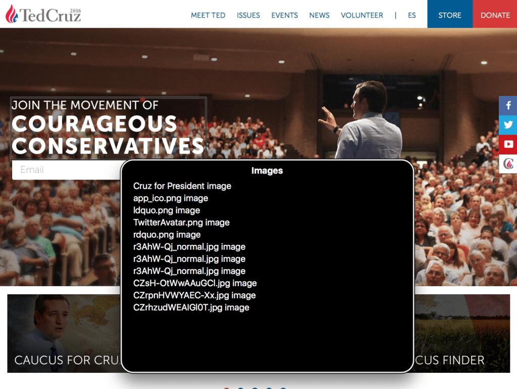 Screenshot of Cruz's website