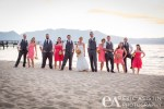 bridal party portrait on the beach. Lakeland Village South Lake Tahoe