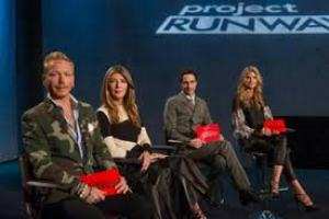 Project Runway Guest Judge Eric Daman with Judges Nina Garcia, Zac Posen, and Host Heidi Klum