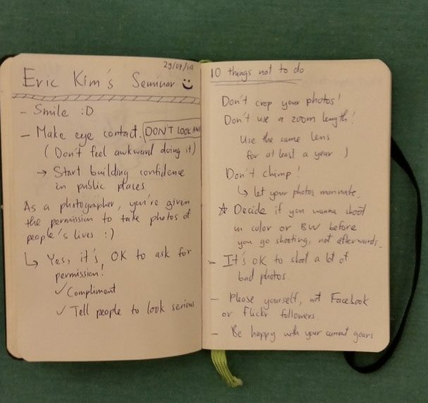 Some notes a student took during my free Hanoi street photography seminar