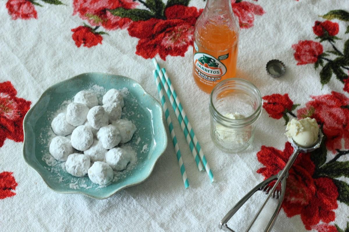 Mexican Wedding Cookies + Jarritos Floats