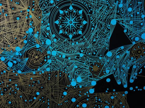 """Фрагмент картины «Астральные (от греч. αστέρι [астери] — """"звезда"""") Космические Исследования: Встреча с Великим Архитектором». Кайхан Салахов"""