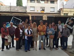 L'escriptor Joan Carreras amb els alumnes de l'Escola de Lletres l'Odissea