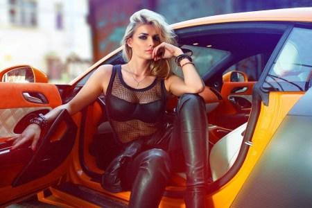 car beauty blonde model girl photo 1
