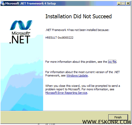 Net framework 4 0 failed with error code 0xc8000222 for sccm 2012
