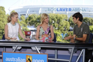 Chris McKendry, Chris Evert and Roger Federer - Australian Open - January 23, 2012