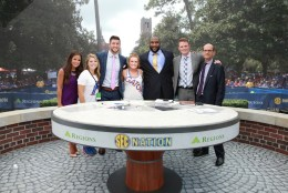 Gainesville, FL - September 26, 2015 - Plaza of the Americas: Kaylee Hartung, Tim Tebow, Marcus Spears, Greg McElroy, Paul Finebaum and fans on the set of SEC Nation (Photo by Allen Kee / ESPN Images)