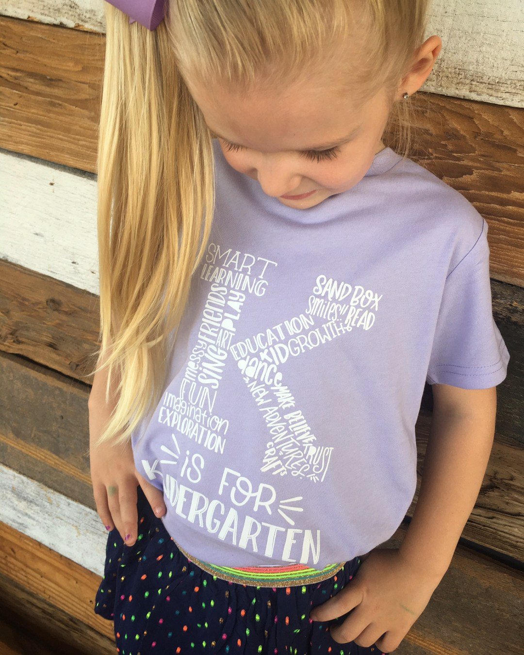 My Wish For You... On Your First Day Of Kindergarten | The Blue Envelope - K is for Kindergarten Tee | Back to School Looks | A Letter To My daughter on her 1st day of Kindergarten
