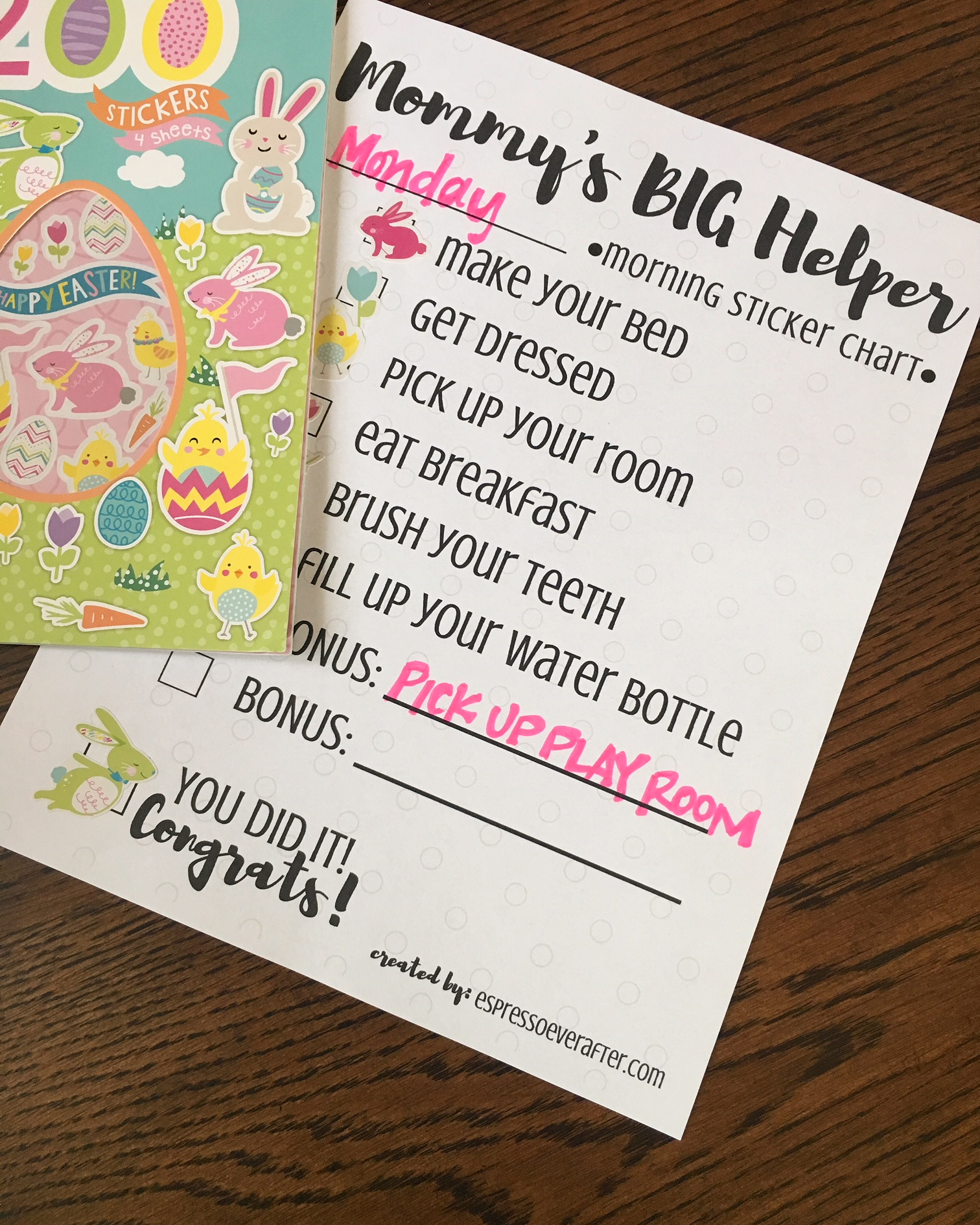 Mommys Big Helper  Free Printable Sticker Chart