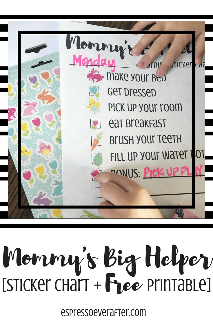 photograph relating to Sticker Chart Printable known as Mommys Huge Helper - Sticker Chart + Free of charge Printables