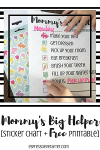 Mommy's Big Helper - Free Printable Sticker Chart
